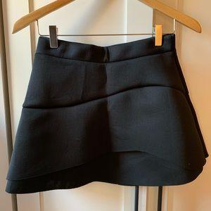 Black scuba material mini skirt